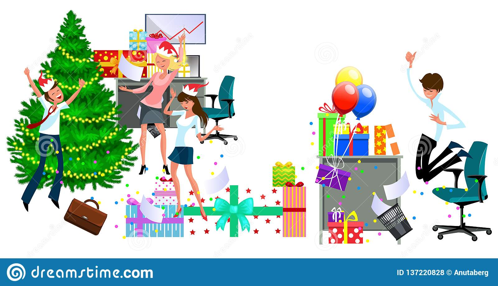 Cartoon Christmas Party At Work In Office Stock Vector Illustration Of Humor Joyful 137220828