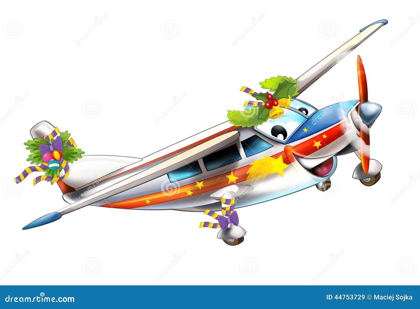 Cartoon Christmas Plane - Caricature Stock Illustration - Image ...