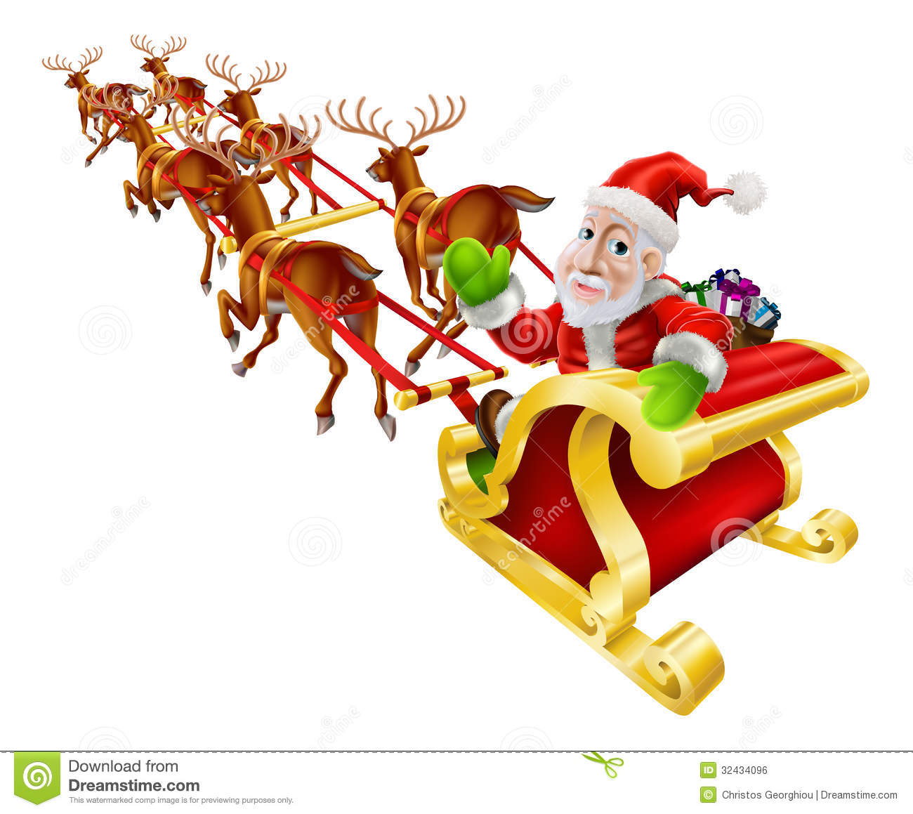 Christmas illustration of Santa Claus flying in his sled or sleigh ...