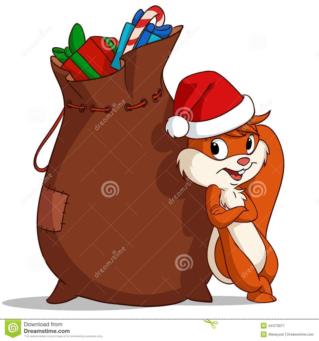 Cartoon Christmas Squirrel With Bag Of Gift Stock Vector - Image ...: www.dreamstime.com/stock-illustration-cartoon-christmas-squirrel...
