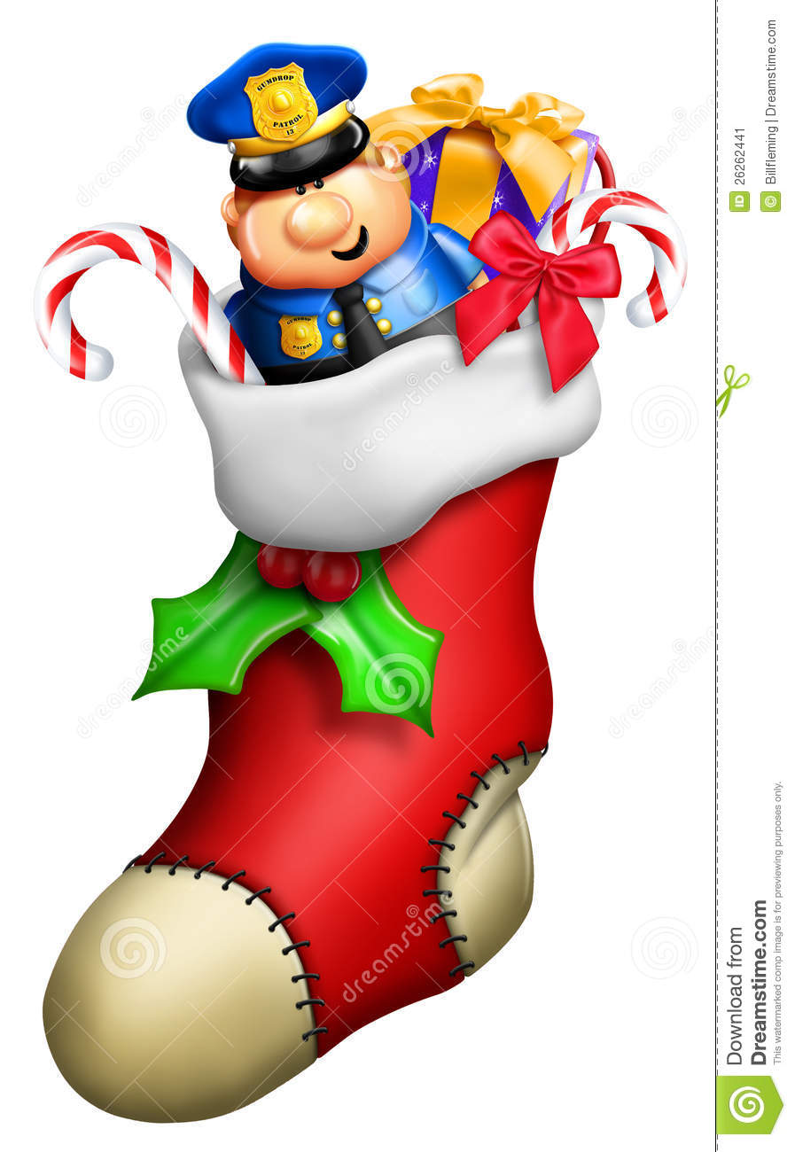 Cartoon Christmas Toys : Cartoon christmas stocking stock image