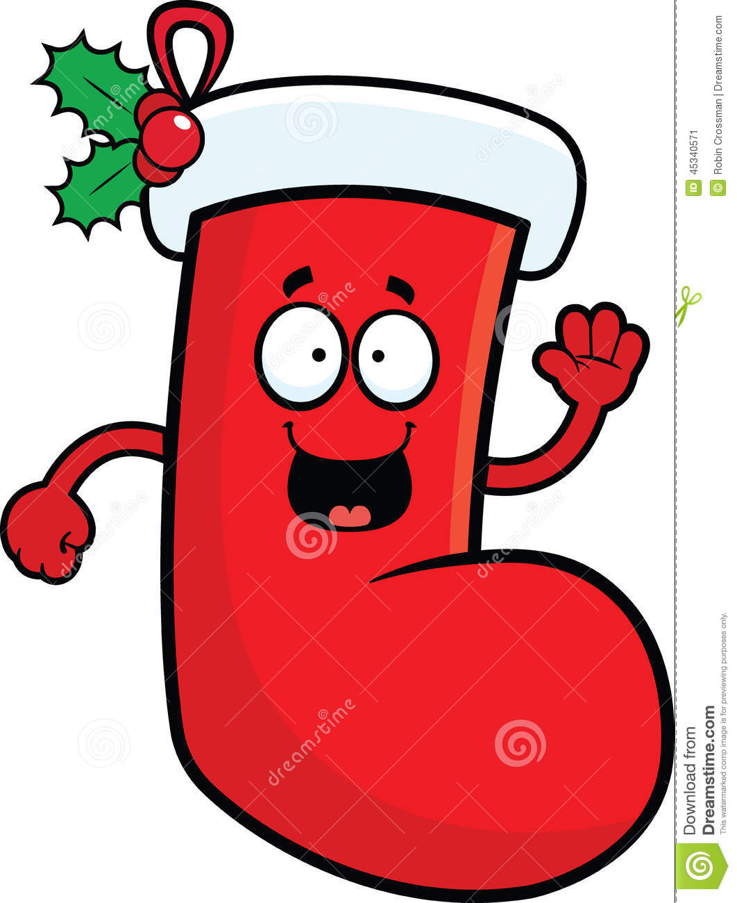Christmas Stockings Cartoon.Cartoon Christmas Stocking Happy Stock Vector Illustration