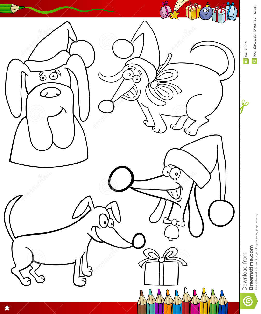 Cartoon Christmas Themes Coloring Page Stock Vector