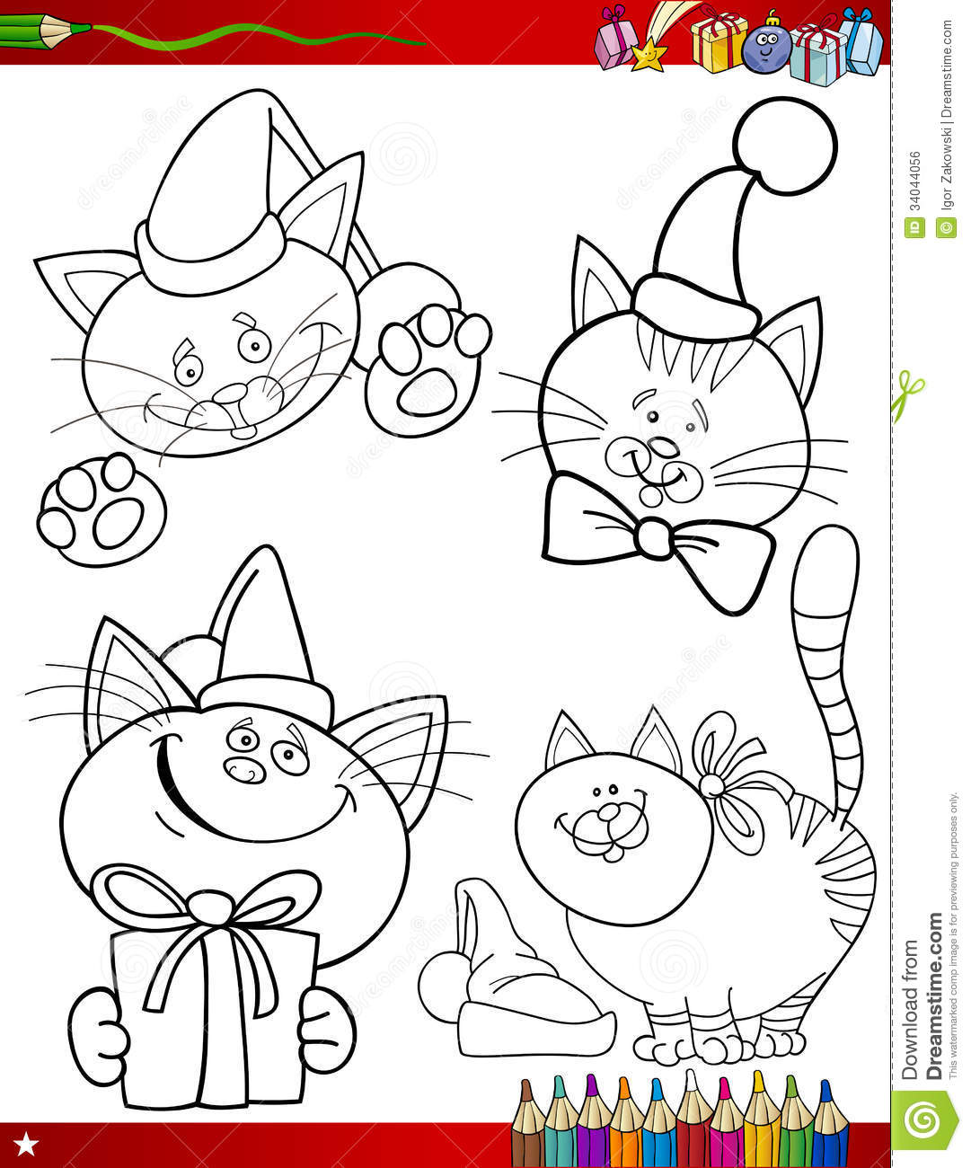 Cartoon Christmas Themes Coloring Page Royalty Free Stock