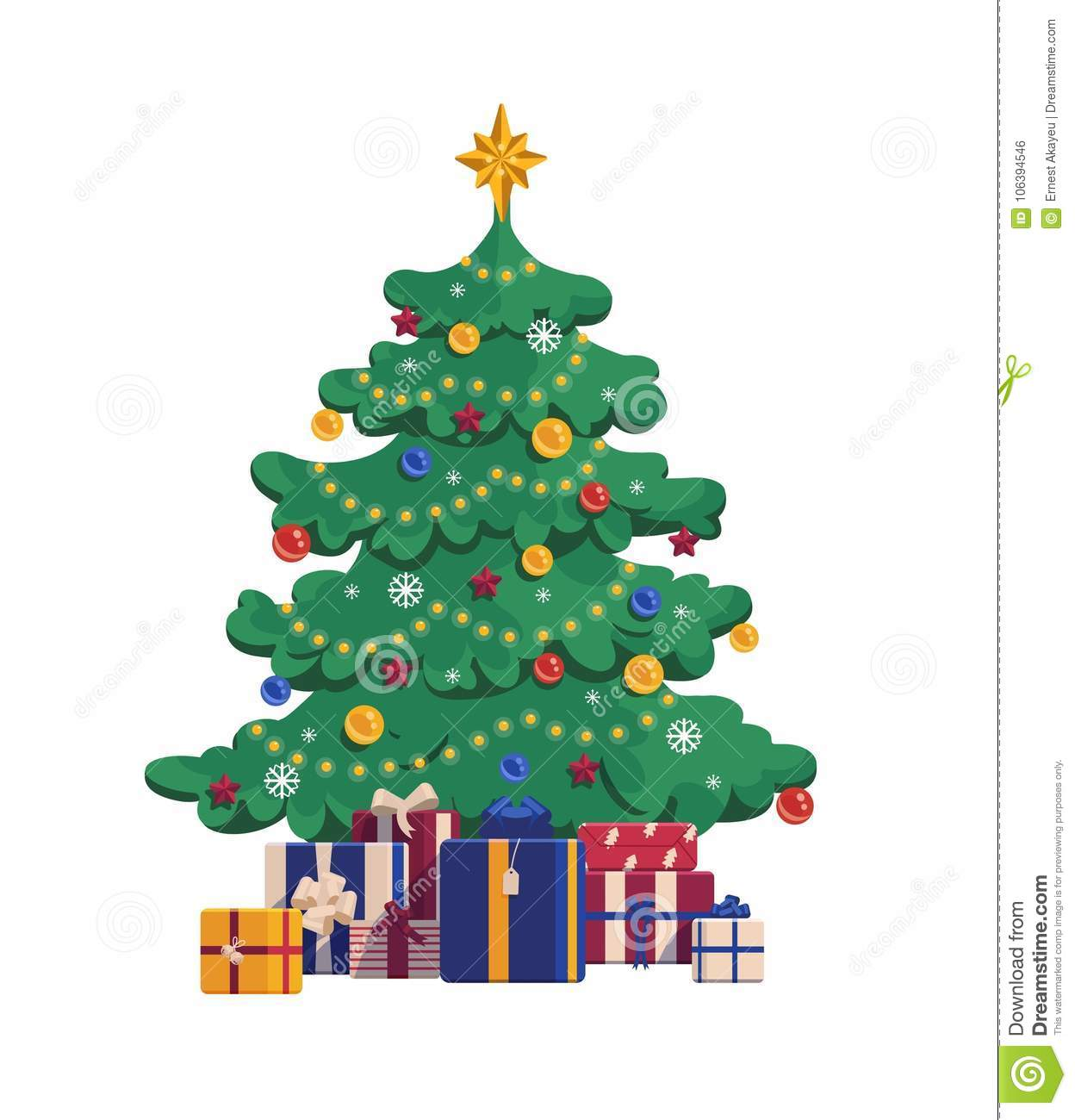 Cartoon Christmas Tree With Gift Boxes. Xmas Vector