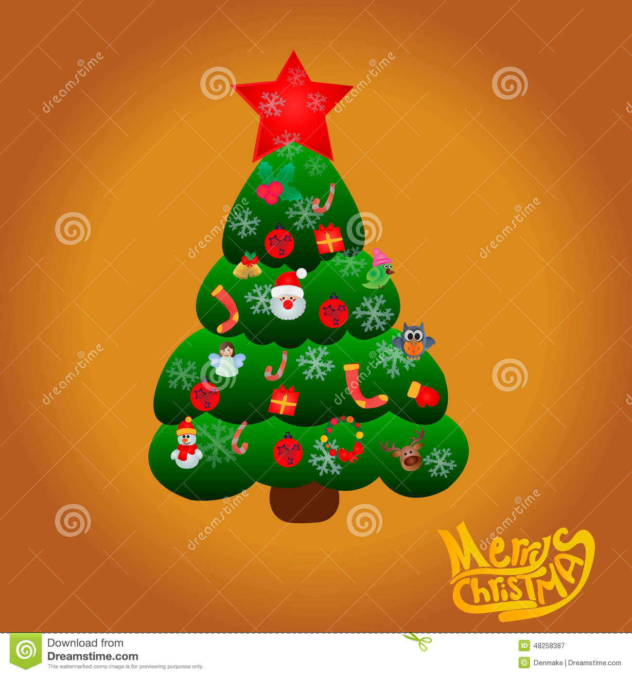 Christmas Toys Cards : Cartoon christmas tree with gifts and toys stock vector
