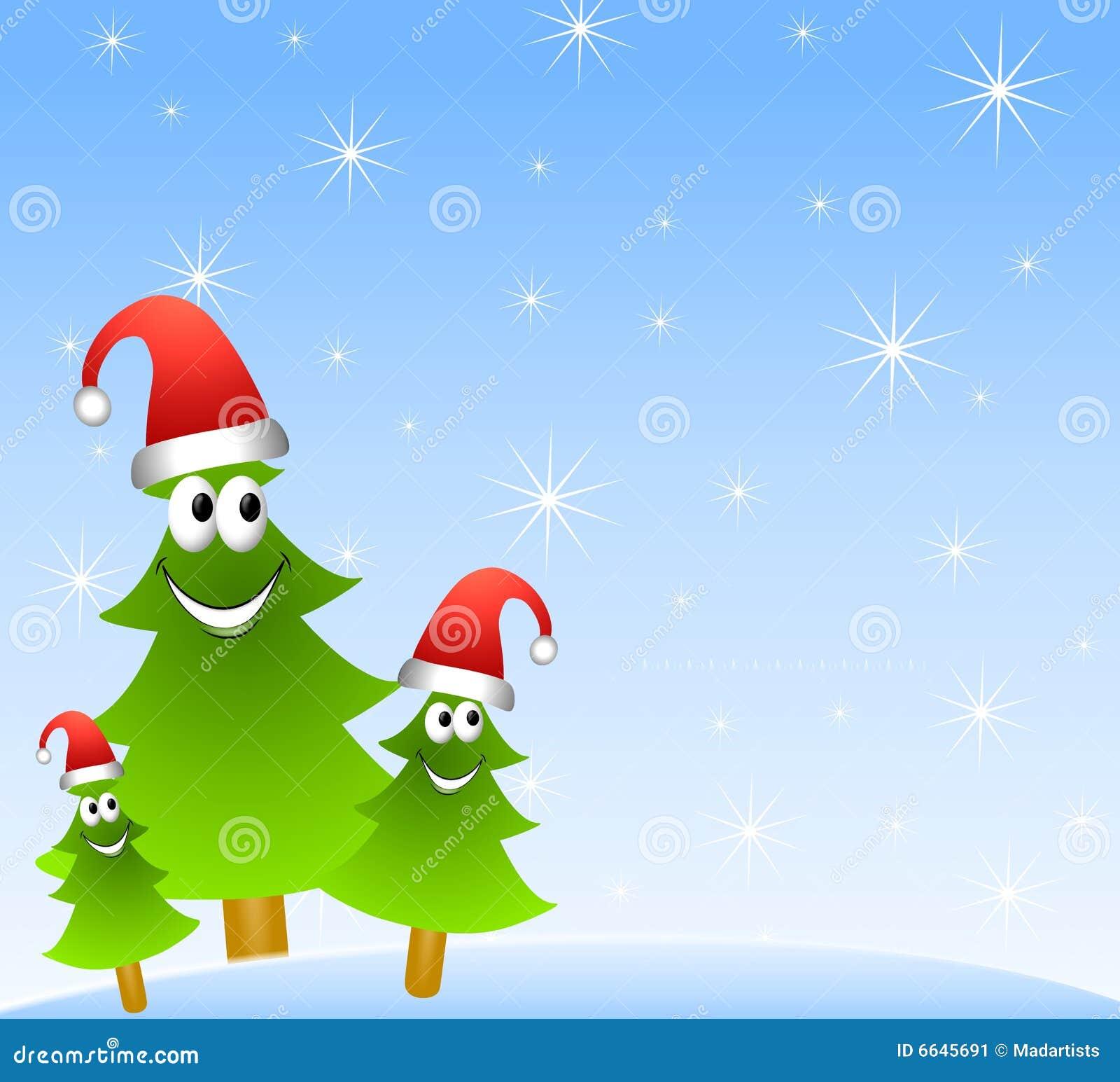 cartoon christmas tree group stock image image 6645691