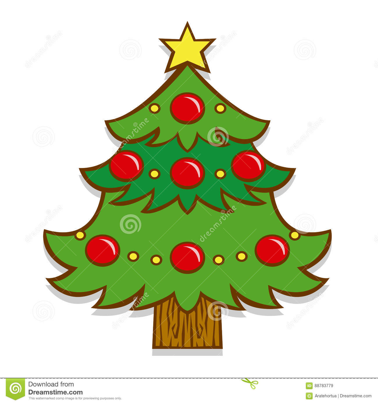 Cartoon Christmas Tree Isolated On White Background Stock ...
