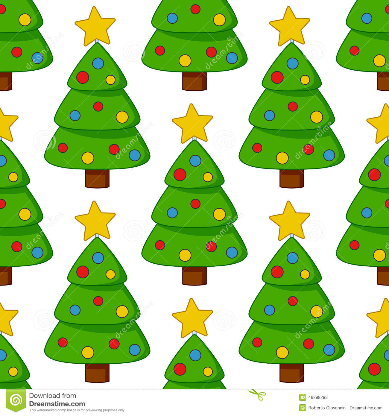 Cartoon Christmas Tree Seamless Pattern Stock Vector