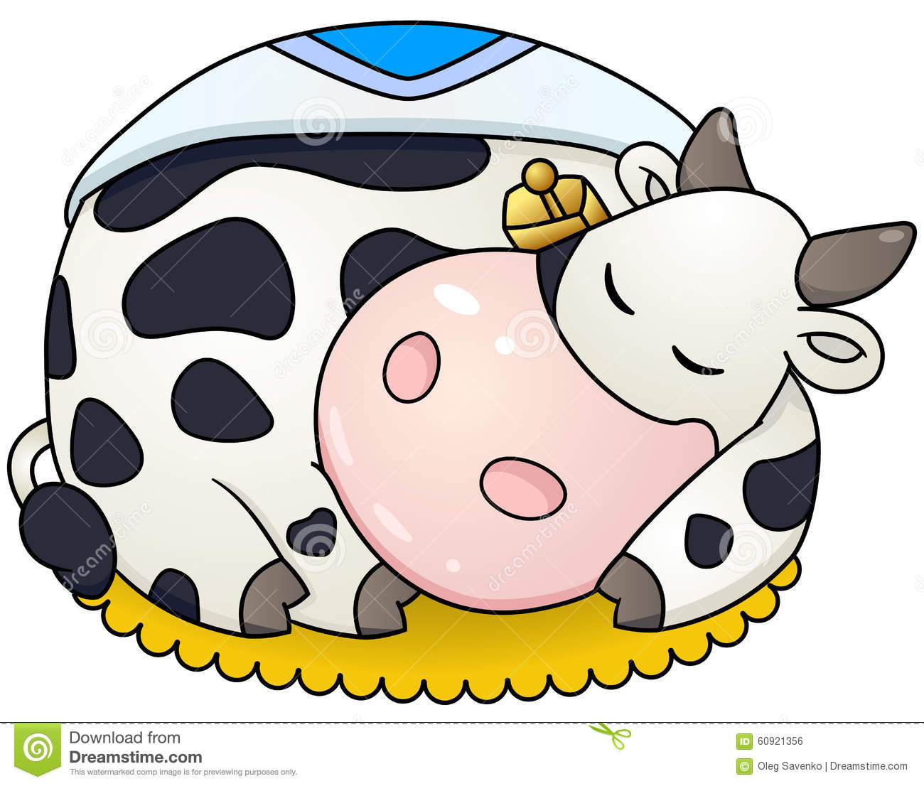 cartoon chubby cow sleep stock vector image 60921356
