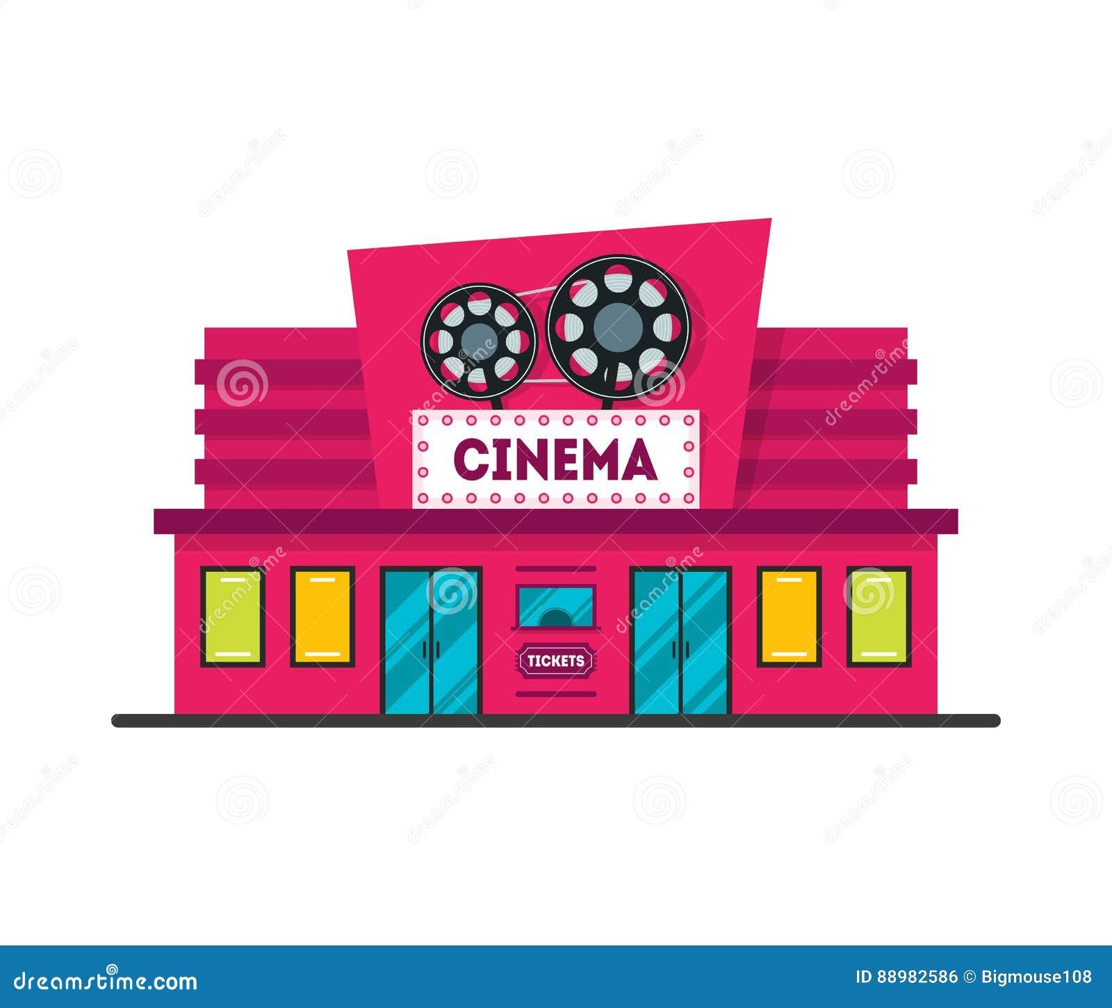 Cartoon Cinema Building. Vector Stock Vector ...  Cinema Building Cartoon