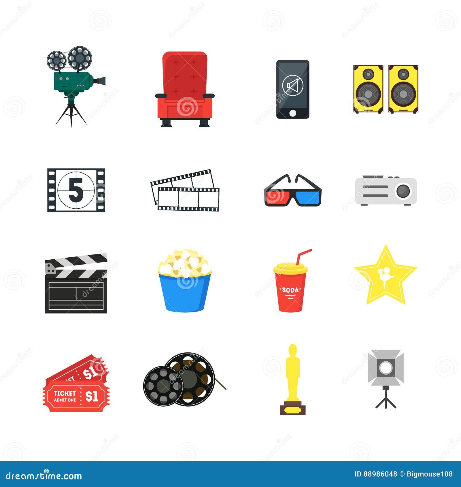 Cartoon Movie Equipment Icon Set Cartoon Vector
