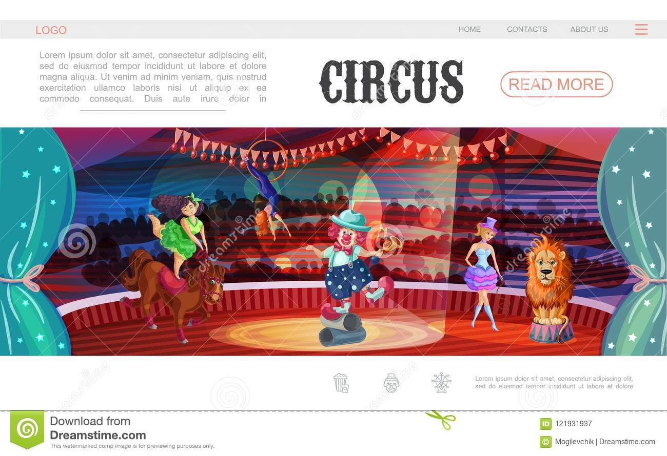 cartoon circus web page template stock vector illustration of