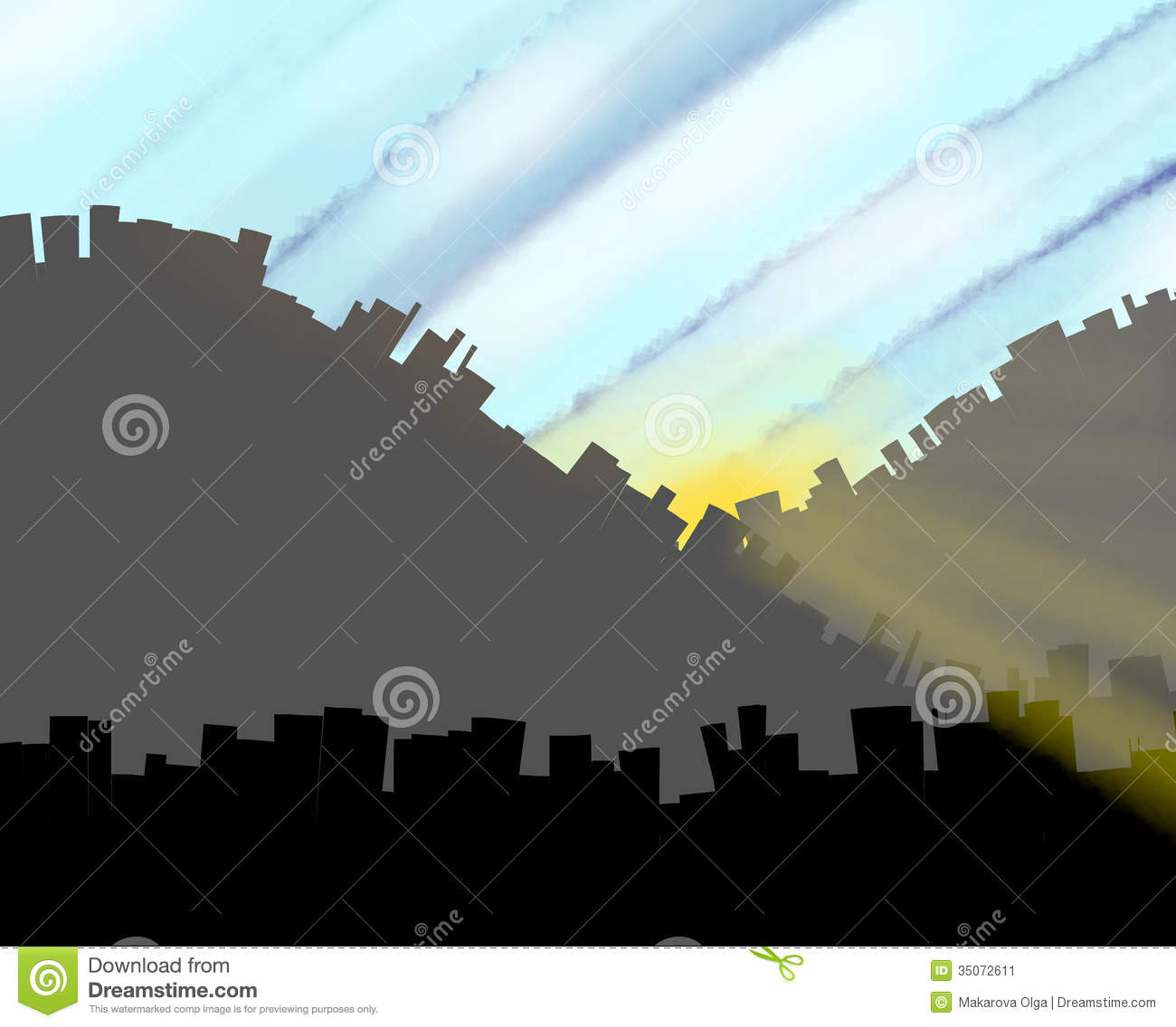 Good weather clip art cartoon city at dawn stock