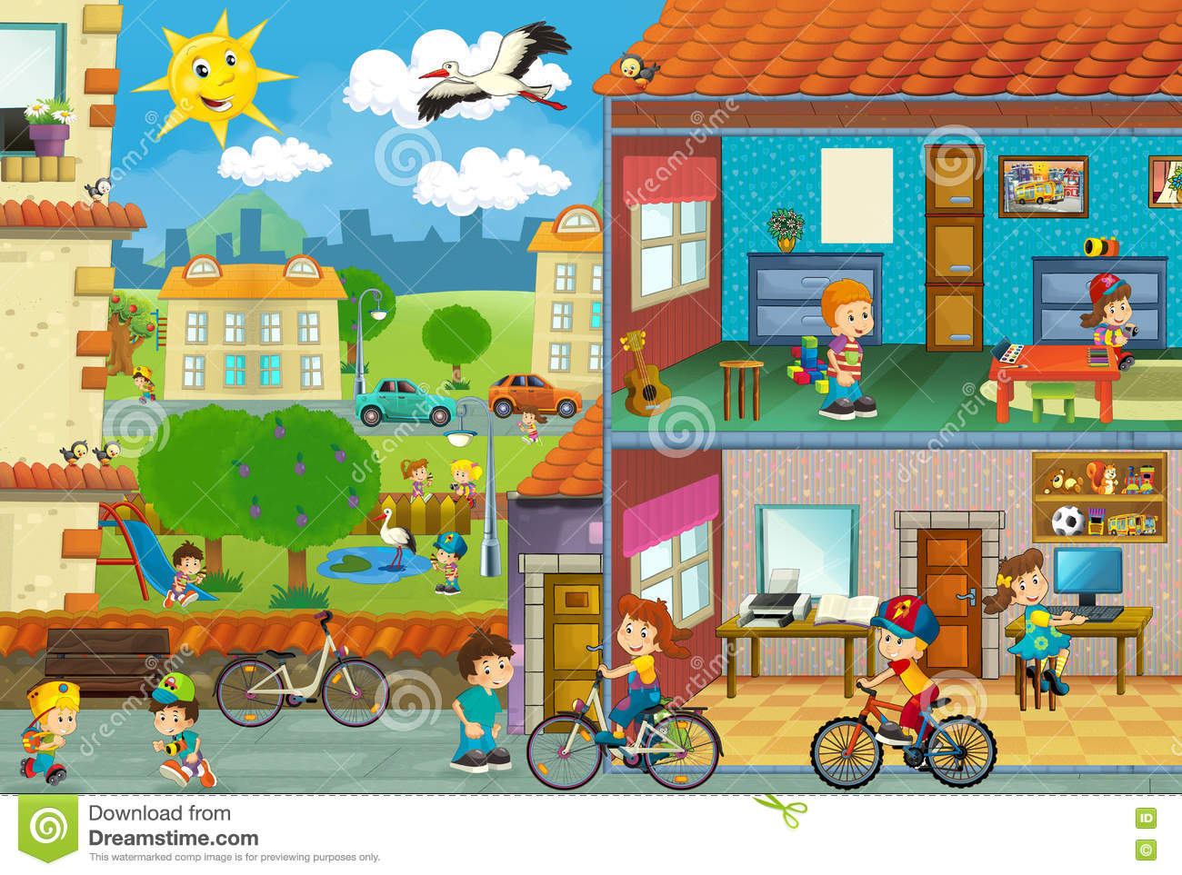 Cartoon house in a cut cartoon vector for O kitchen city of dreams