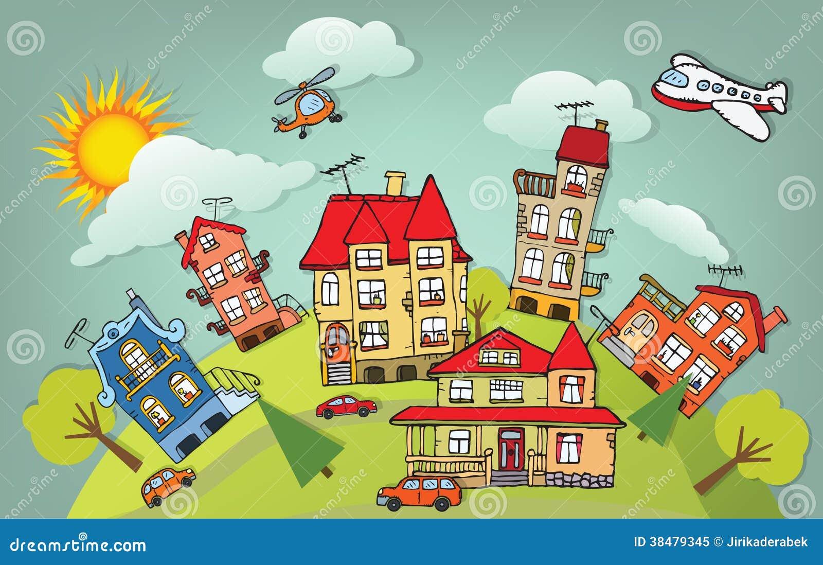 Cartoon City Stock Vector Image Of Life Building