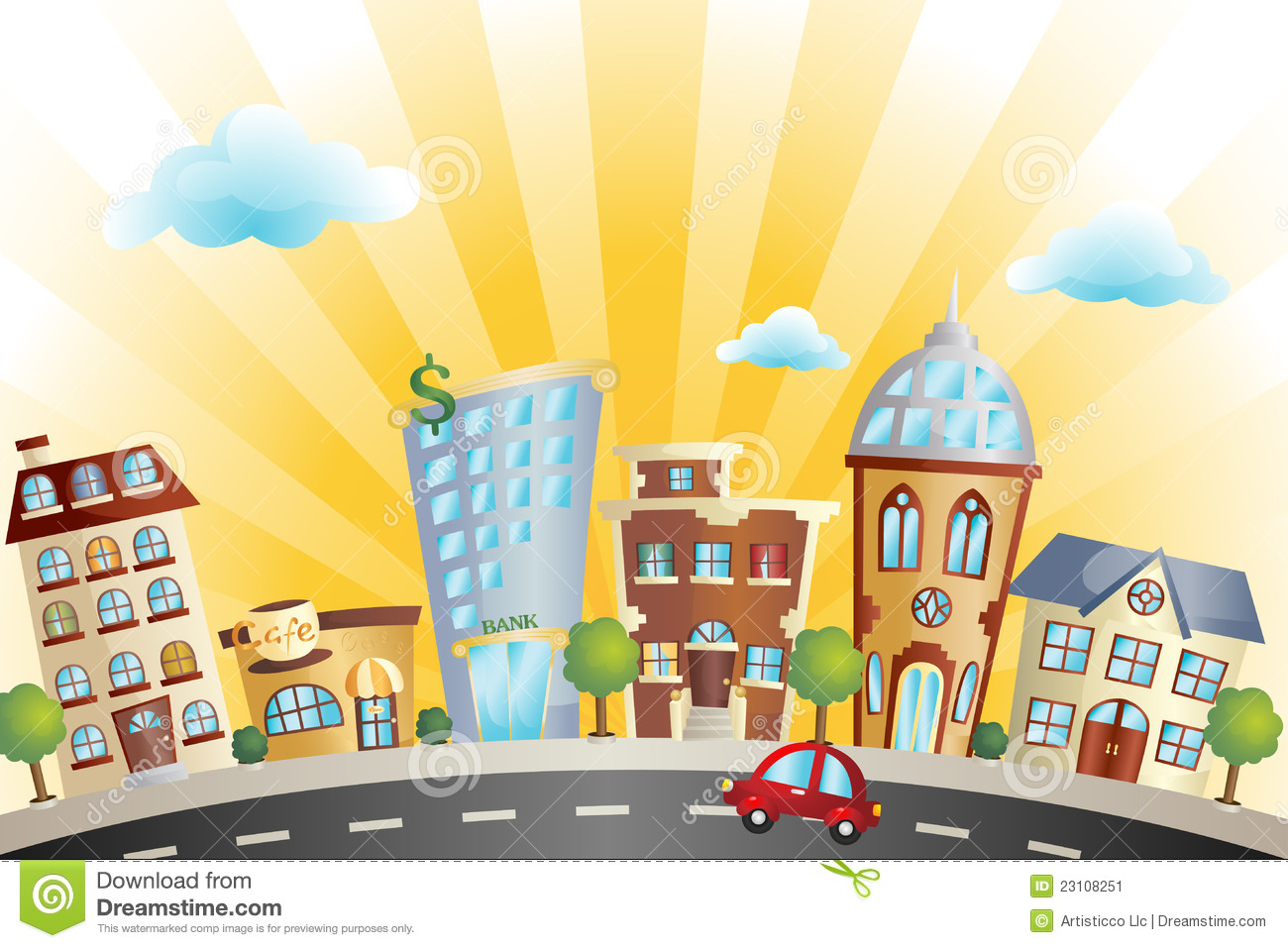 vector illustration of colorful cartoon cityscape.