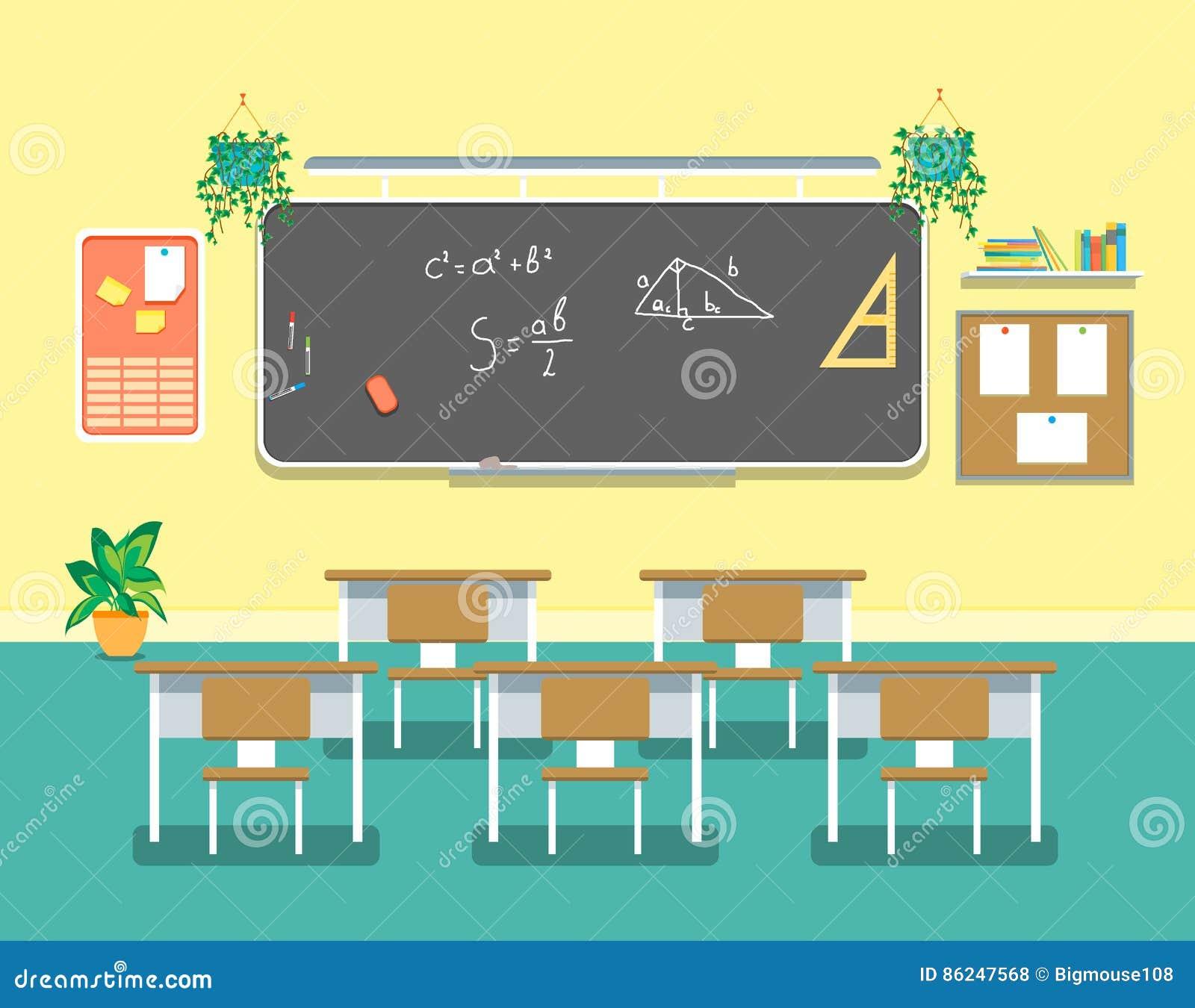 Z Classroom Design ~ Cartoon classroom design interior vector stock