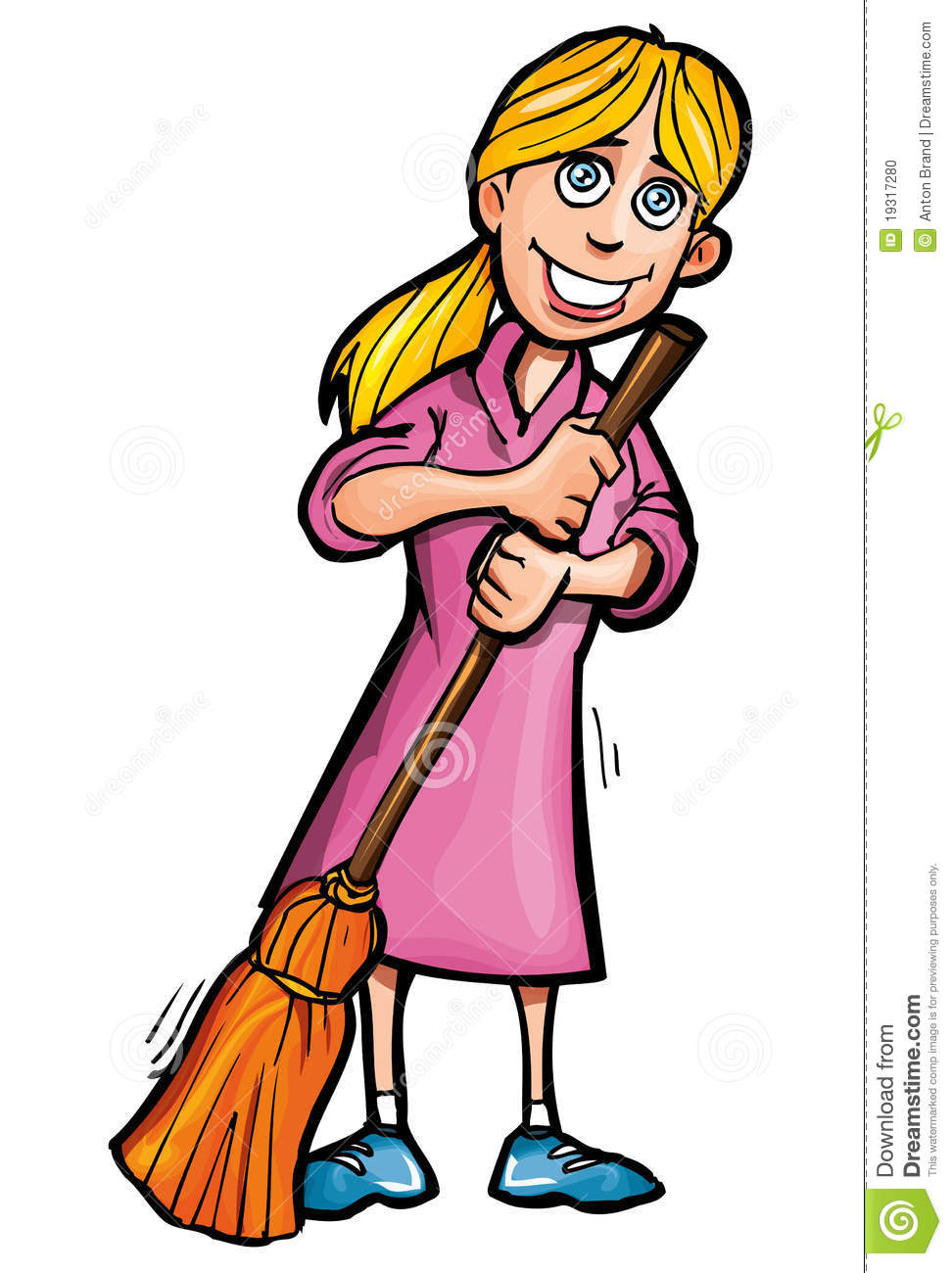 Cartoon Cleaner With A Broom Stock Photo Image 19317280