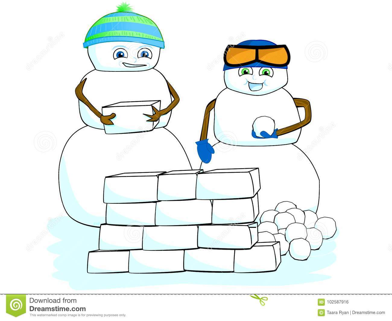 0242f556bbbd Cartoon Clip Art Children Snowman Building Snow Fort House Winter ...