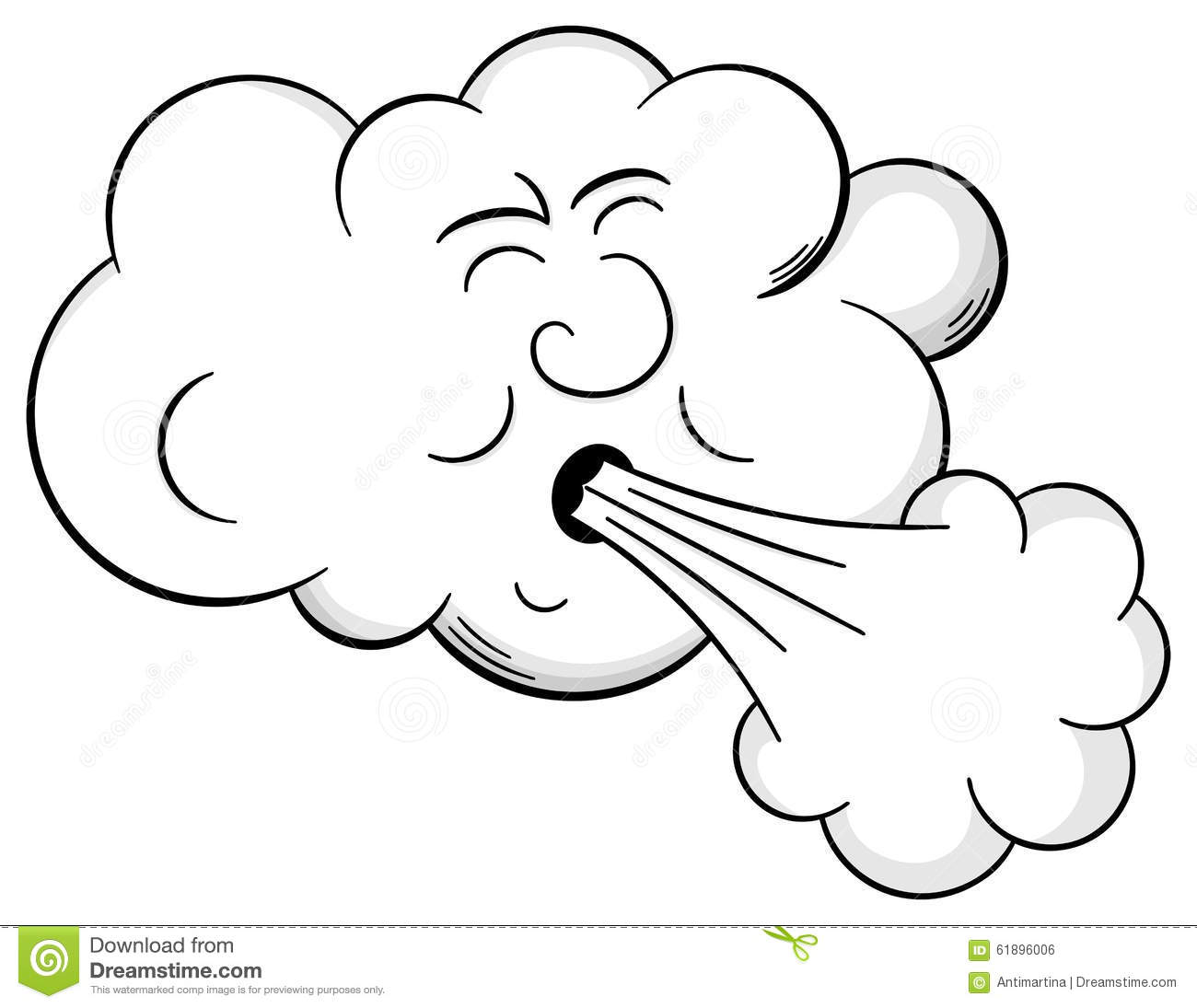 Cartoon Cloud Blows Wind Stock Vector - Image: 61896006