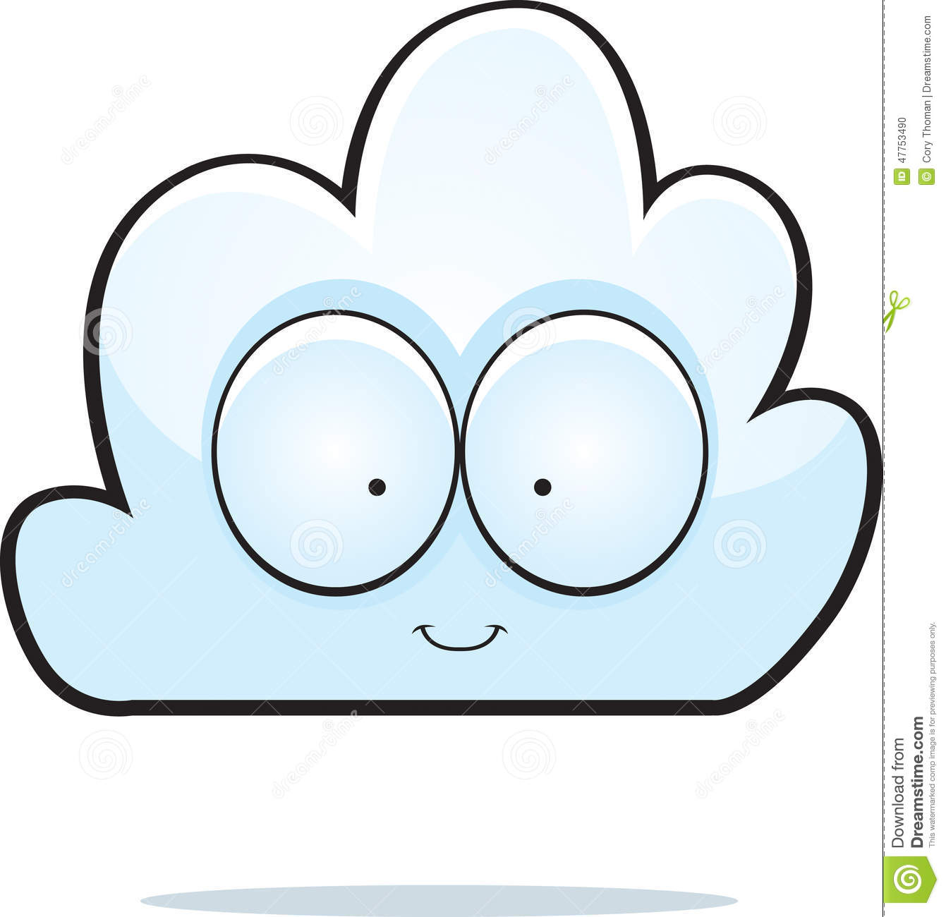 cartoon illustration of a cloud smiling and happy.