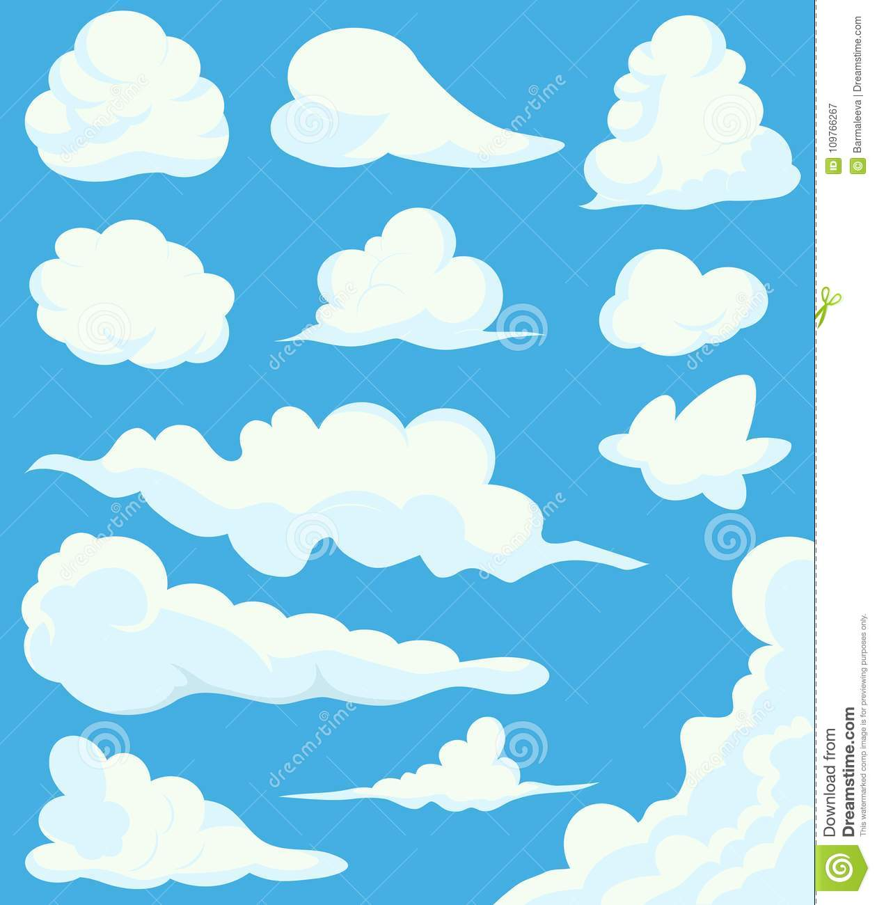 Cartoon Clouds Set On Blue Sky Background. Illustration of a collection of various vector cartoon clouds on a blue sky