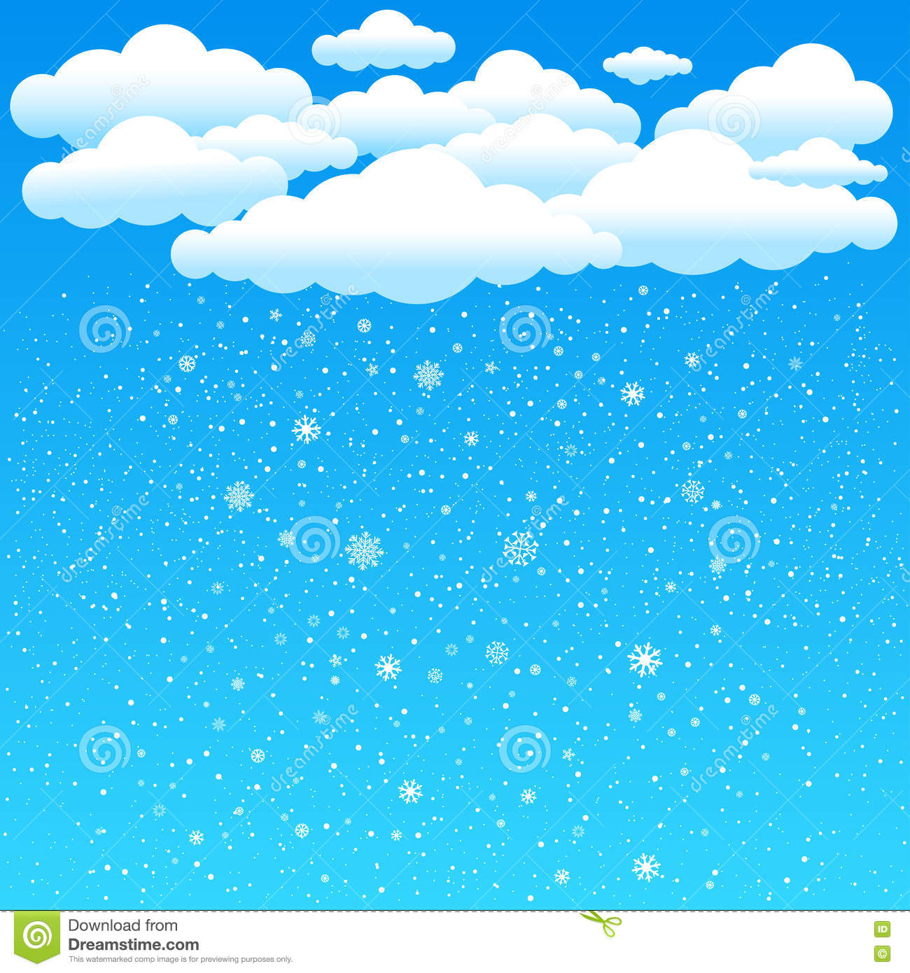 Cartoon Clouds Snow Falls Stock Vector Illustration Of Background 81520261