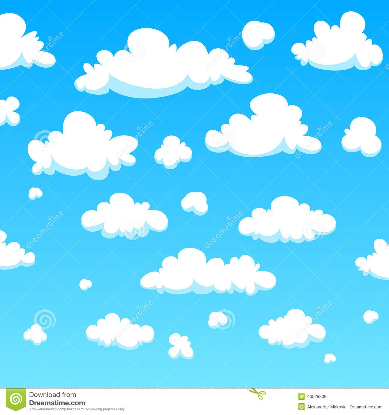 White cartoon clouds background, vector illustration.