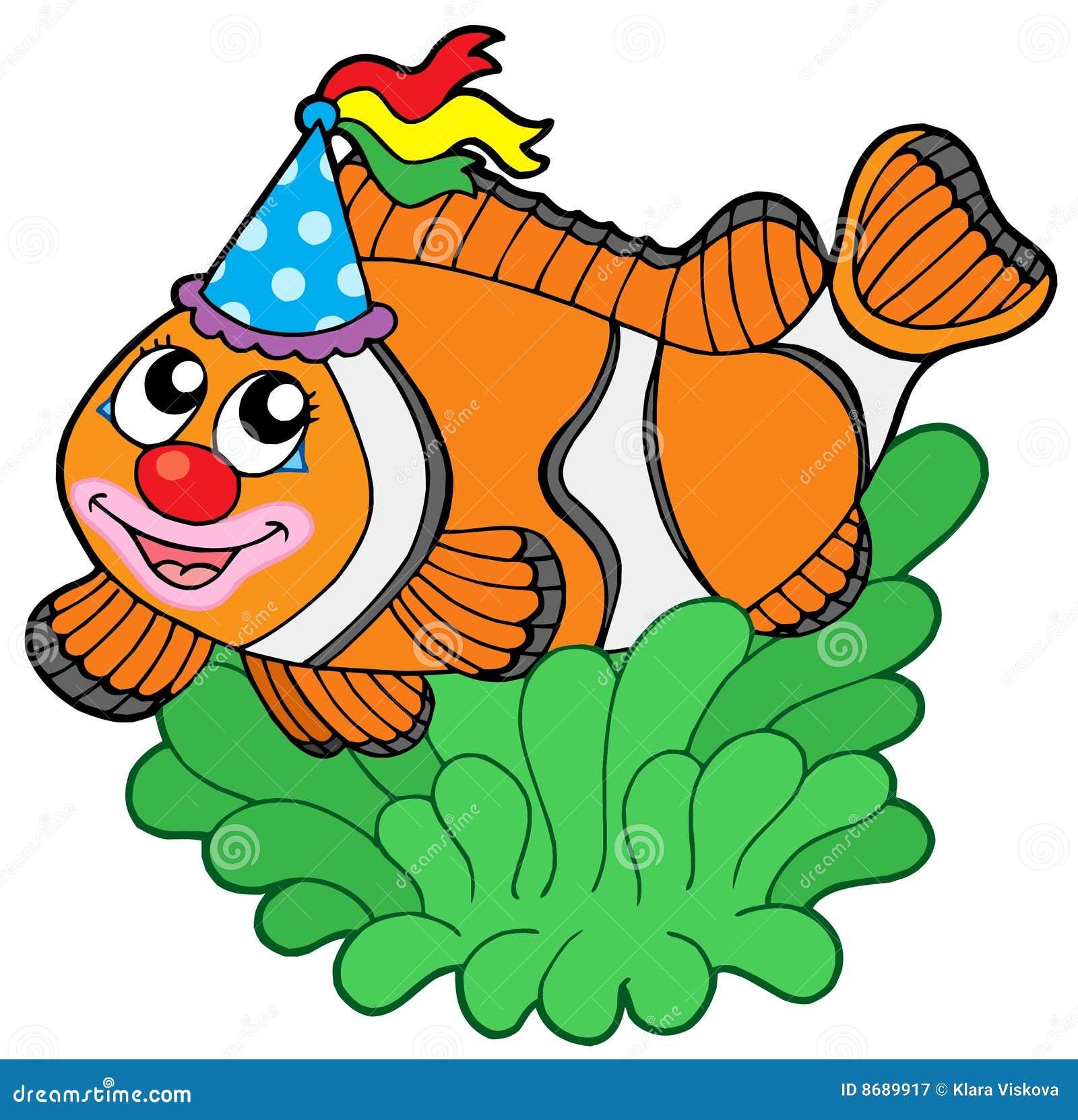 Cartoon Clownfish In Anemone Stock Vector Illustration Of Draw