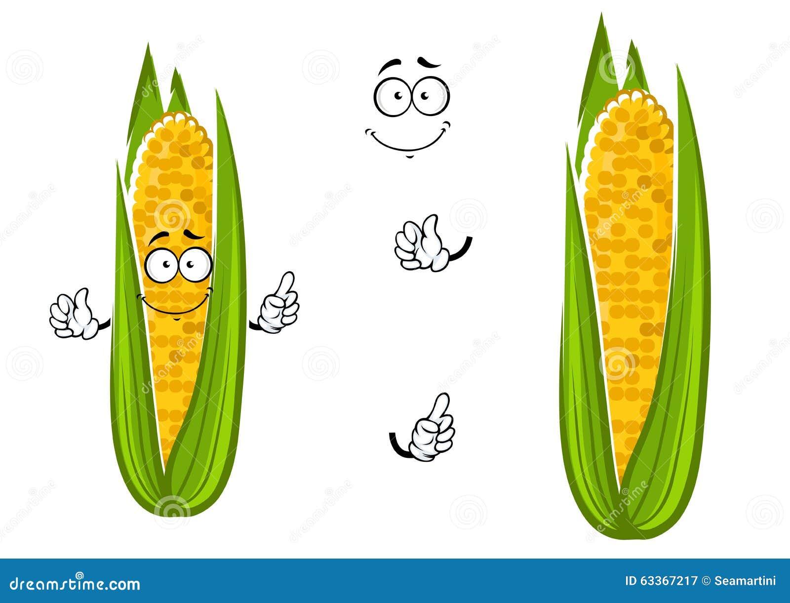 Cartoon Cob Of Juicy Sweet Corn Vegetable Stock Vector