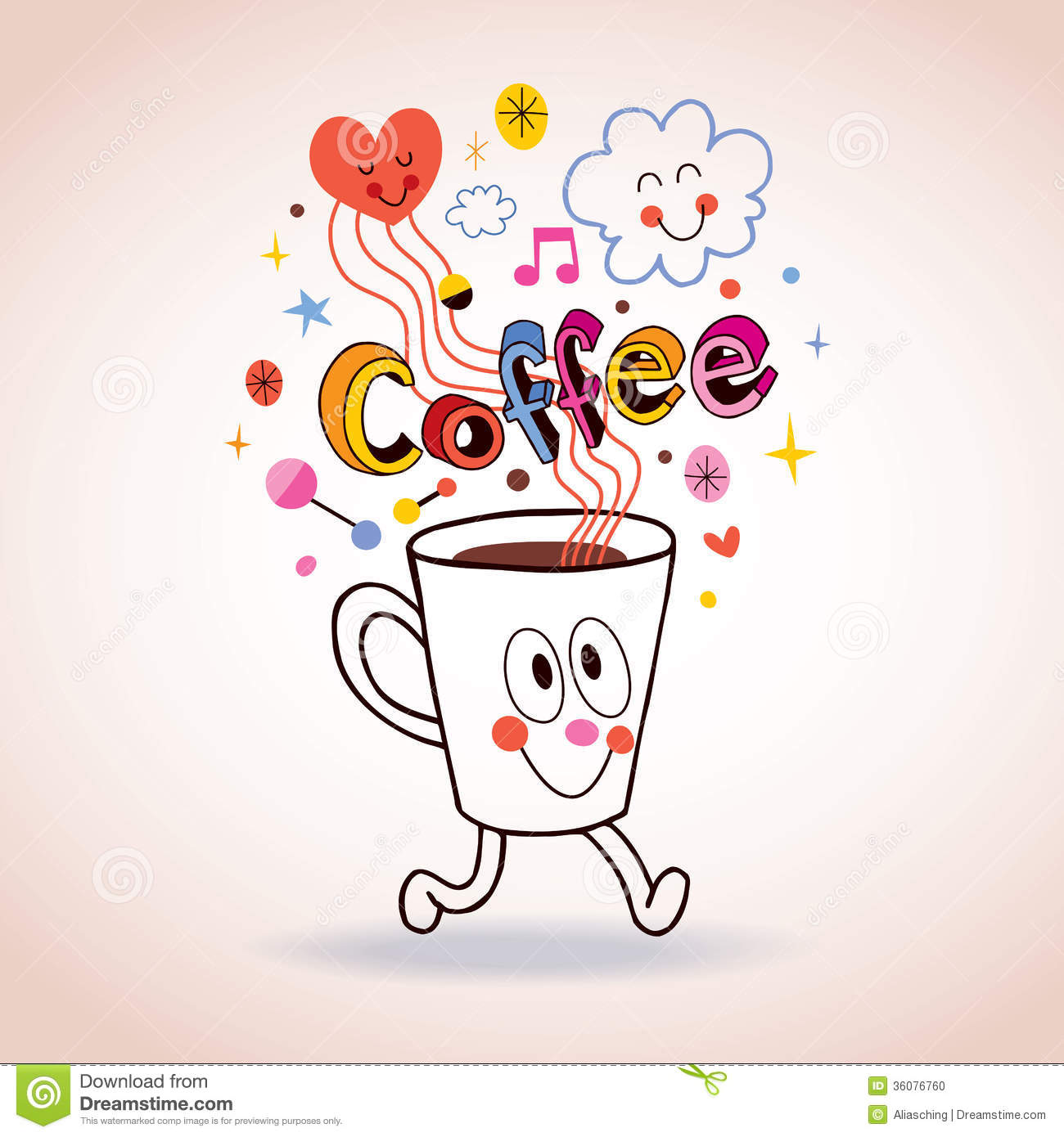 Cartoon Coffee Cup Illustration Stock Photo - Image: 36076760