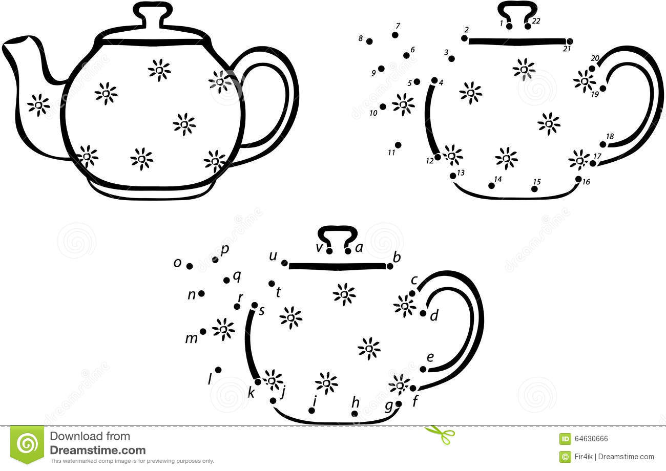 cartoon coffee pot vector illustration coloring and dot to dot