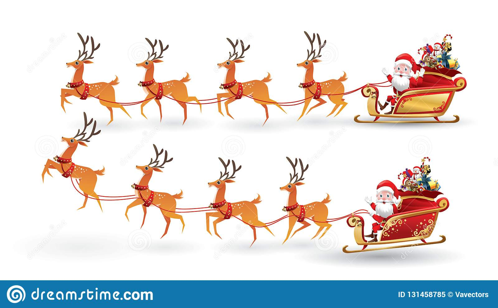 Cartoon Collection Of Christmas Santa Claus Rides Reindeer Sleigh On Christmas With Different Pose Emotion Vector Set Stock Vector Illustration Of Reindeer Flying 131458785