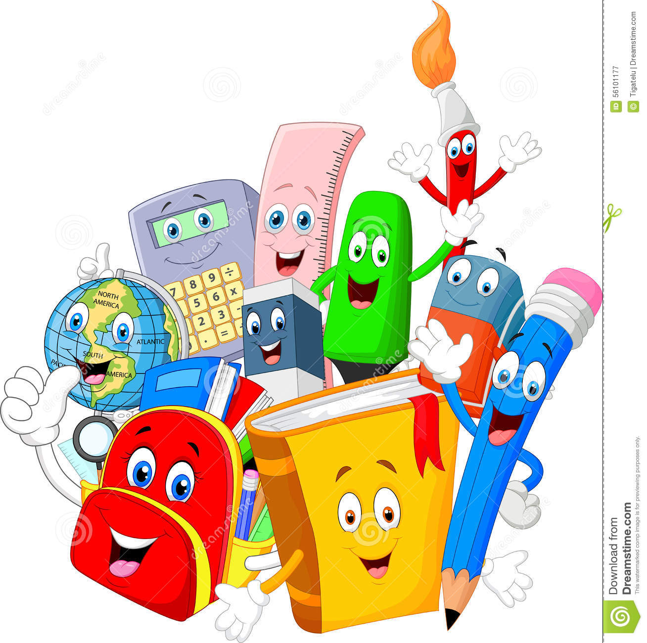 Stock Illustration Cartoon Collection Stationery Giving Thumb Up Illustration Image56101177 on pen eraser