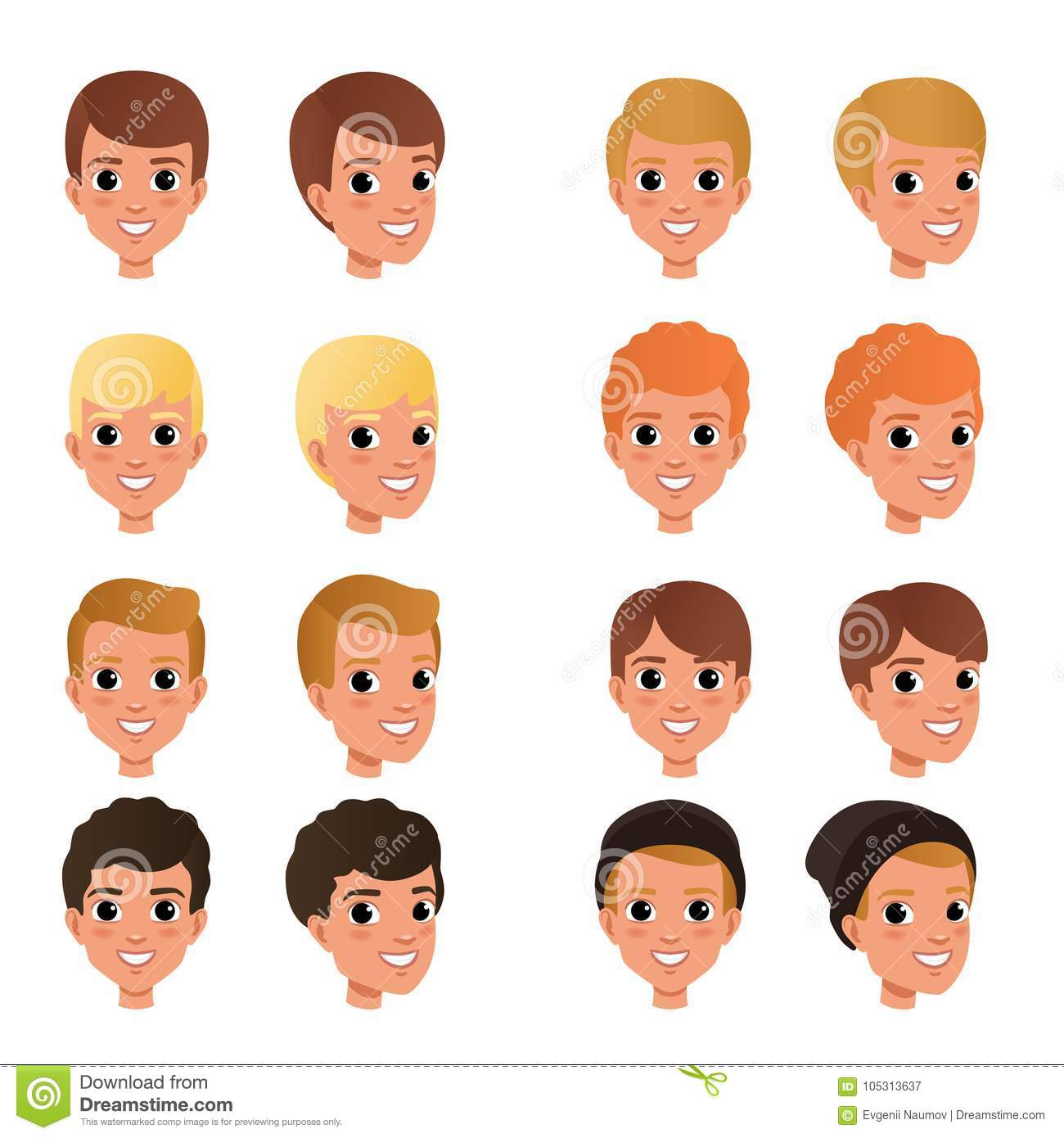 Cartoon Collection Of Variety Of Boy S Hair Styles And Colors Kid