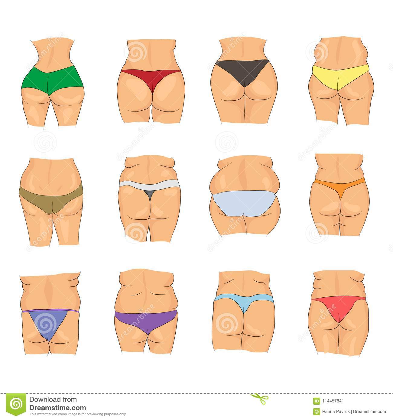 Cartoon collection of various woman butts in different colorful panties  isolated on white background d4e3343d0