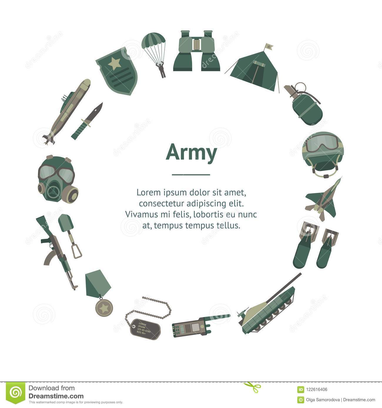 cartoon color army weapons banner card circle vector stock vector