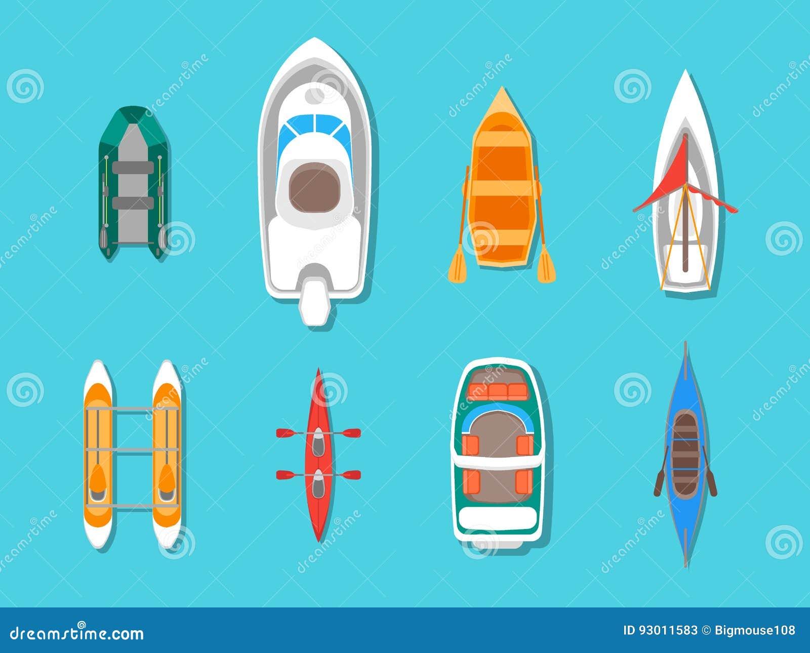 Cartoon Color Boats Icons Set Top View. Vector