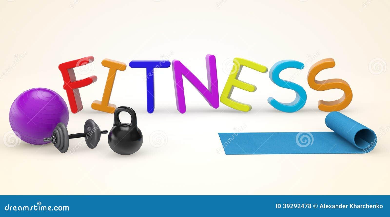 Cartoon color fitness sign stock illustration - Fitness cartoon pics ...