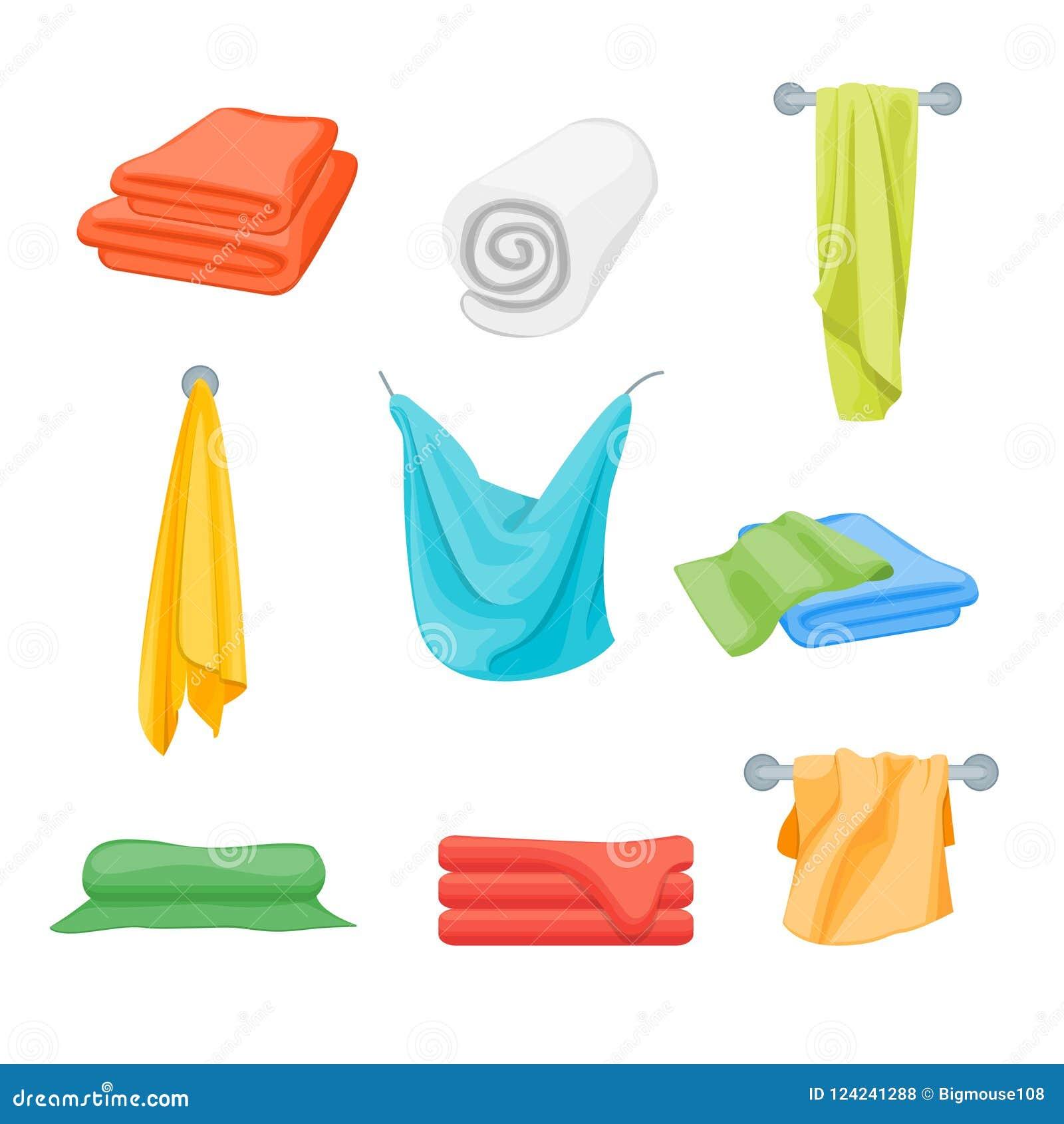 Cartoon Color Folded Towels Set For Bathroom. Vector Stock Vector ...