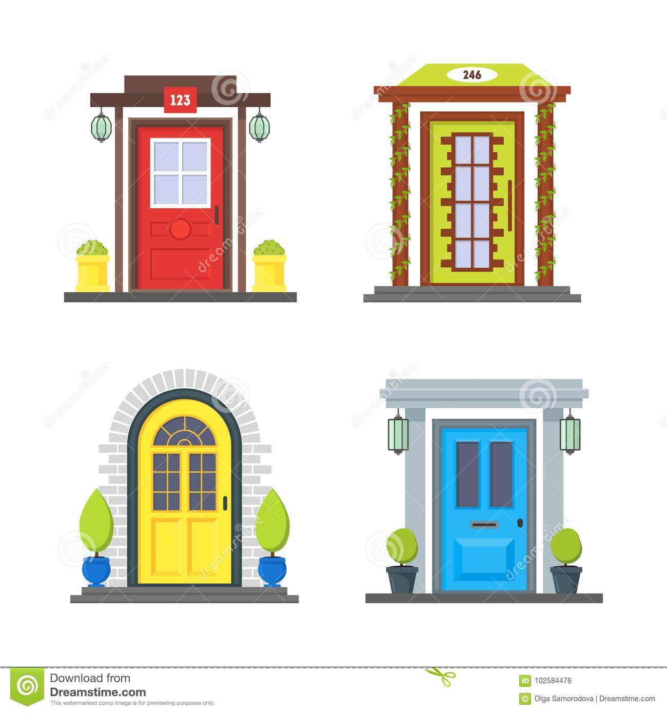 Cartoon Color Front Door Of House Icon Set Vector Stock Vector
