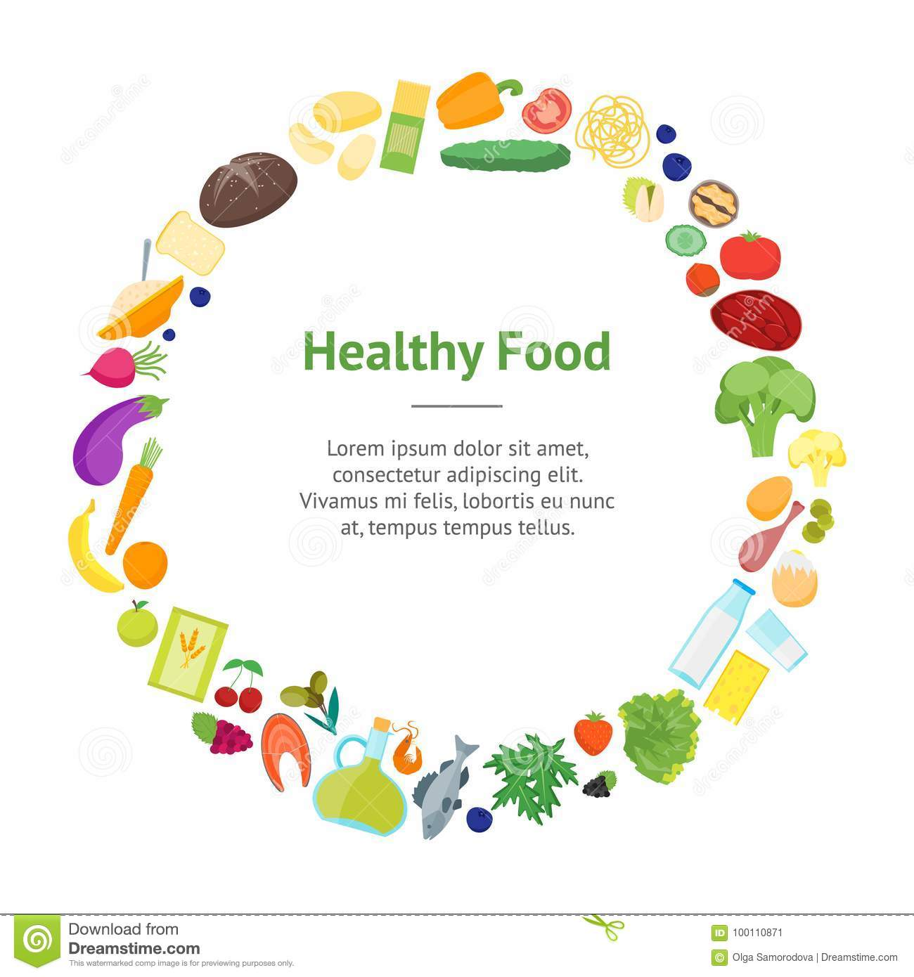 Cartoon Color Healthy Food Banner Card Circle. Vector