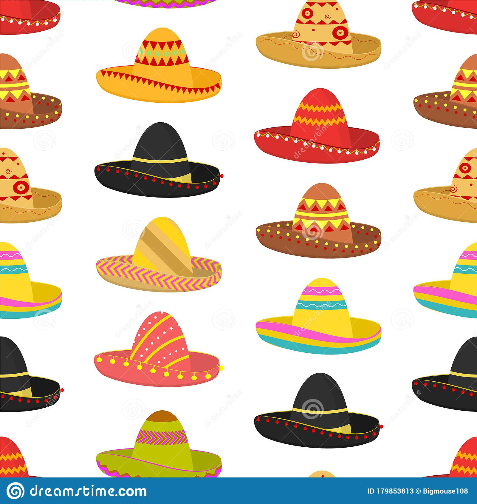 Cartoon Color Mexican Sombrero Hat Seamless Pattern Background Vector Stock Vector Illustration Of Holiday Entertainment 179853813