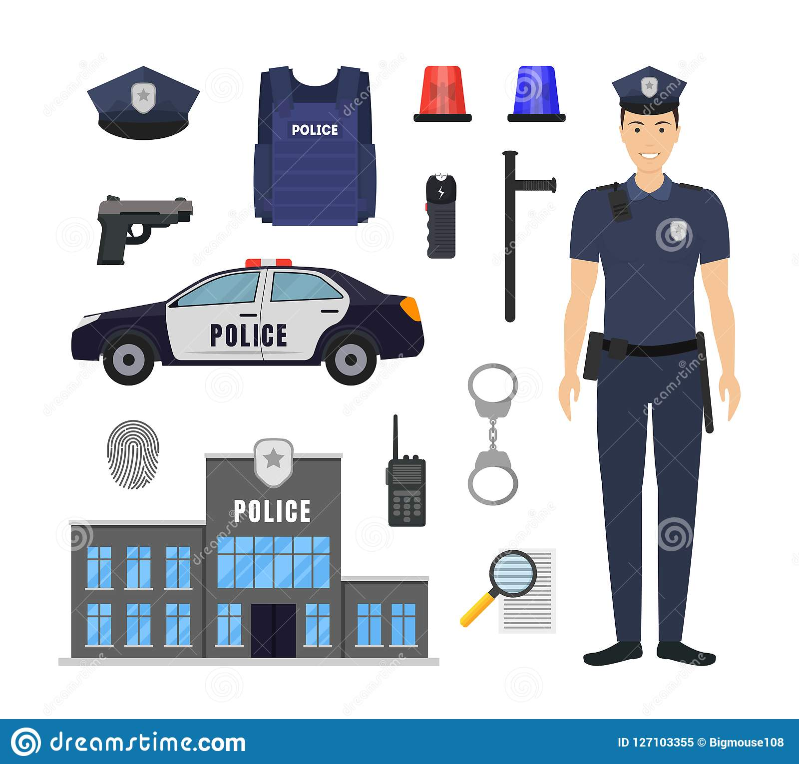 Cartoon Color Policeman and Police Elements Icon Set. Vector