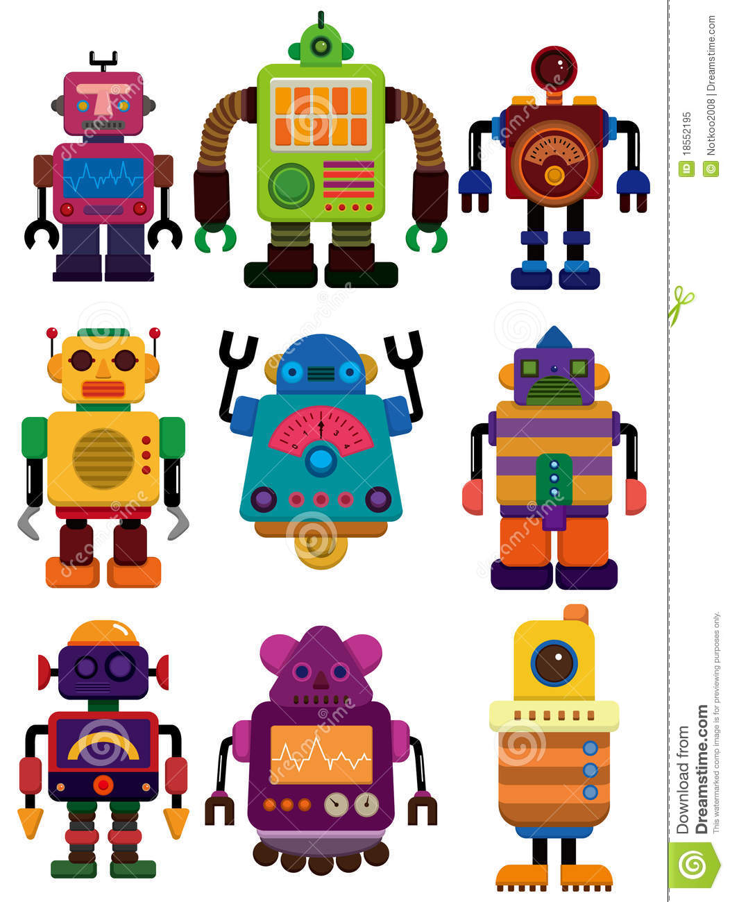 Cartoon Color Robot Icon Stock Vector. Illustration Of