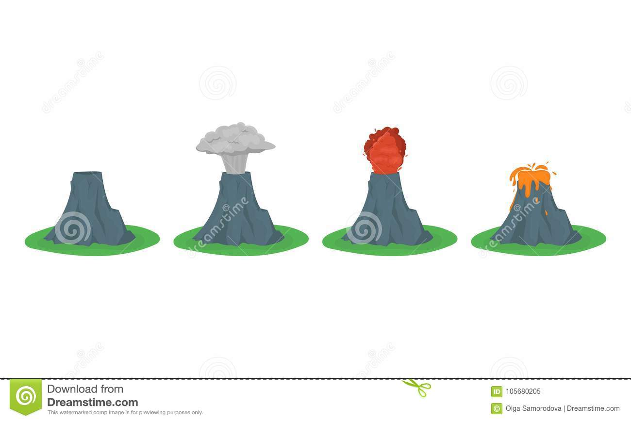 cartoon color volcano erupting set vector stock vector