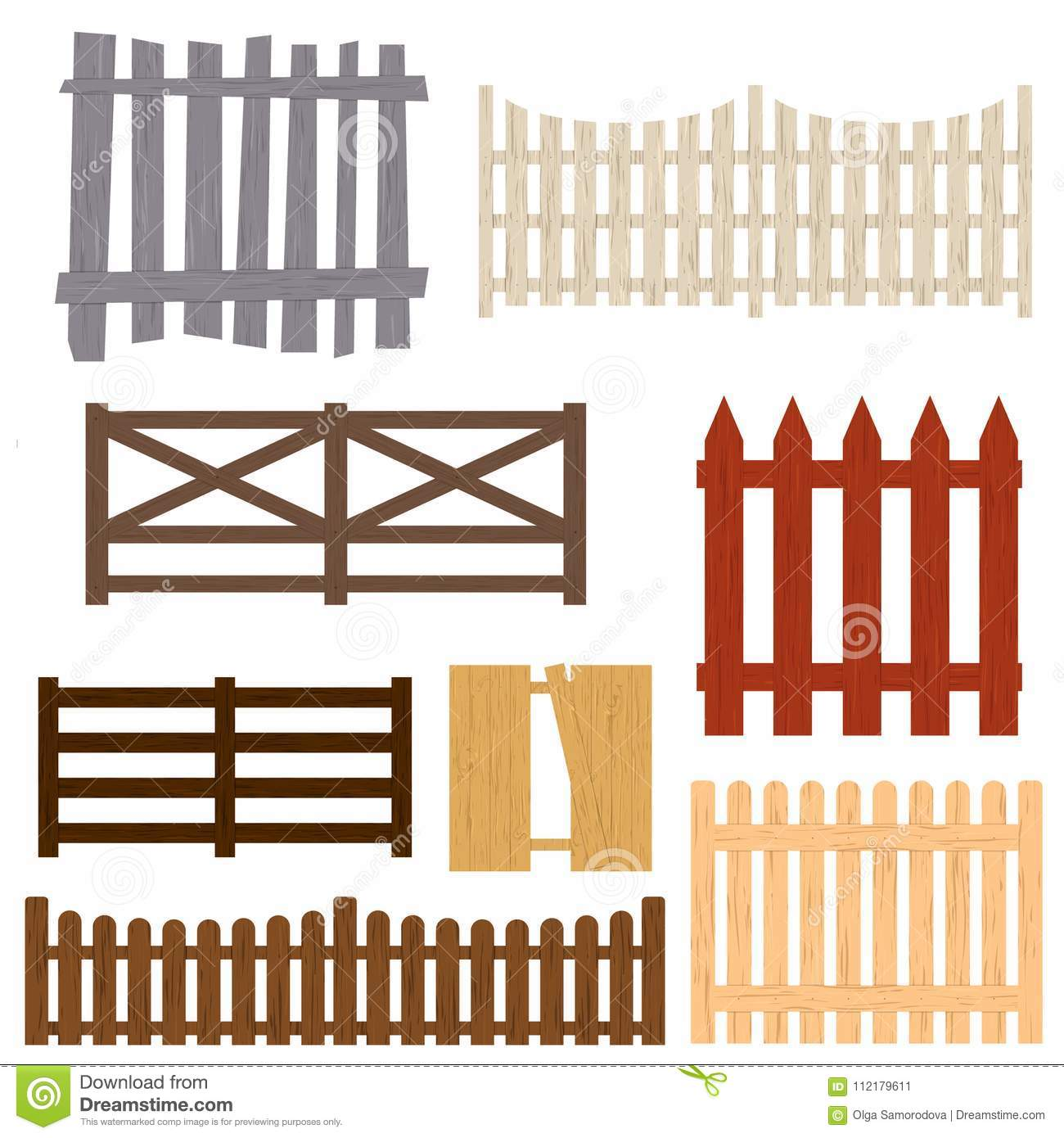 Cartoon Color Wooden Fence Set Vector Stock Vector Illustration