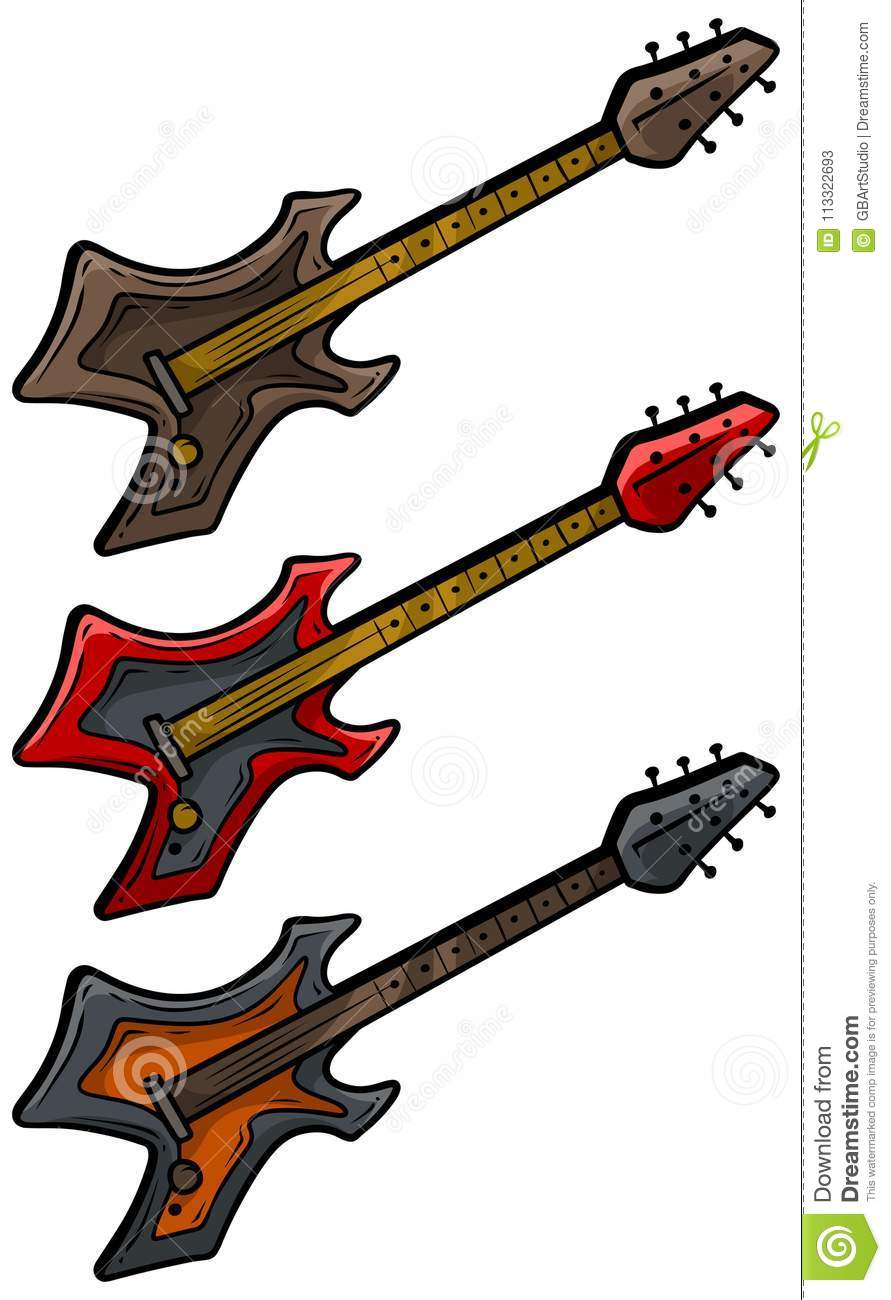 Cartoon Colored Electric Metal Rock Guitar Set Stock Vector