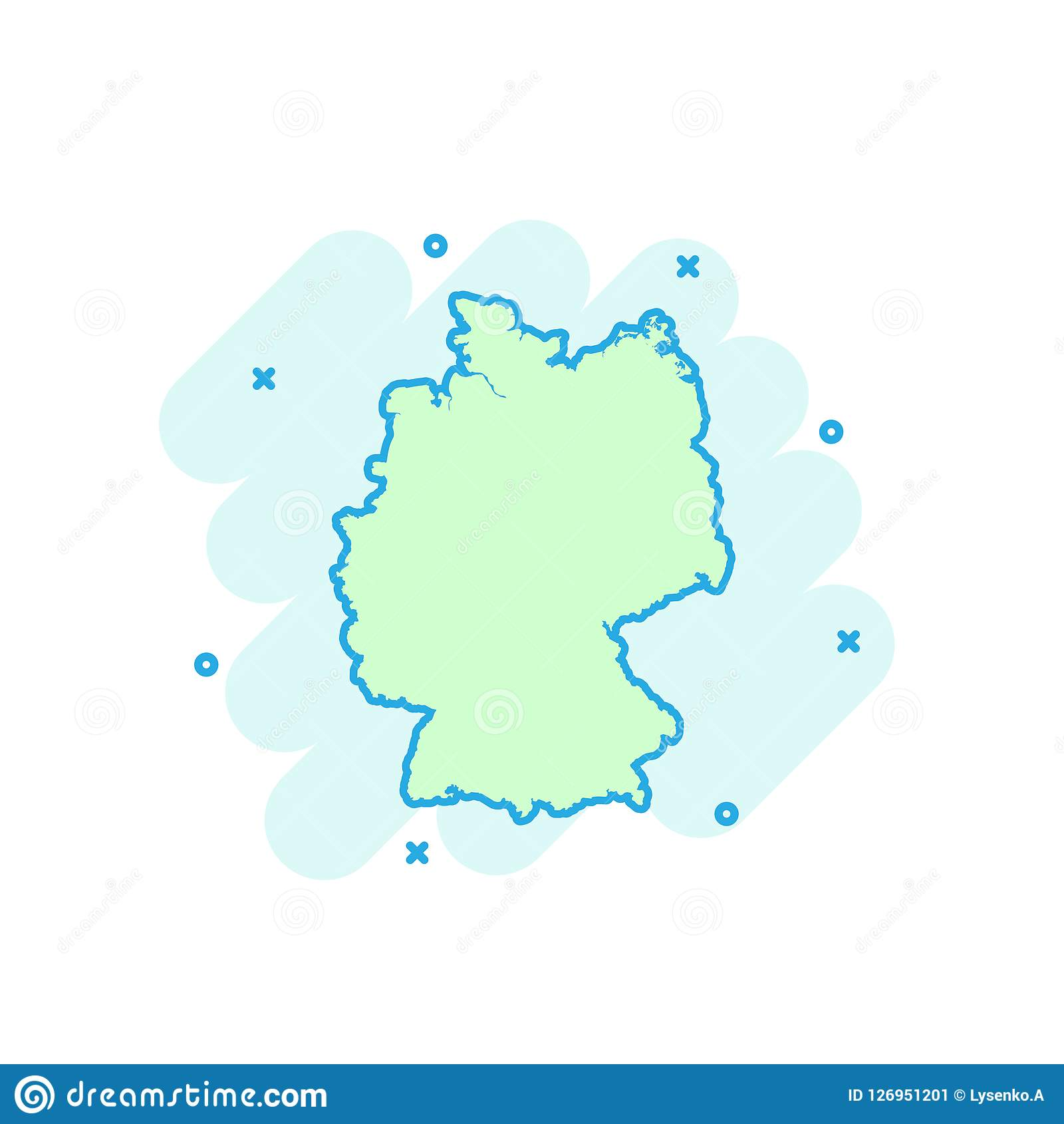 Cartoon Map Of Germany.Cartoon Colored Germany Map Icon In Comic Style Germany Sign Il